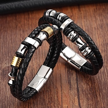 XQNI Fashion Men Bracelets Leather Stainless Steel Wristband Bangles Men Bracelets & Bangles Casual Style