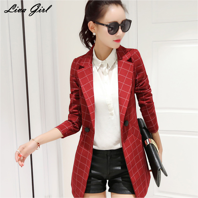 Liva Girl Women Blazers Red Grey Black Elegant Office Lady Suit Casual Autumn Clothes Single Button Jackets Work Wear Blazers