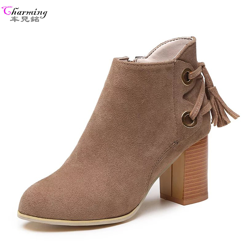 Fashion women ankle boots winter sexy women boots high heels fringe Women autumn boots ladies shoes black comfort square heels