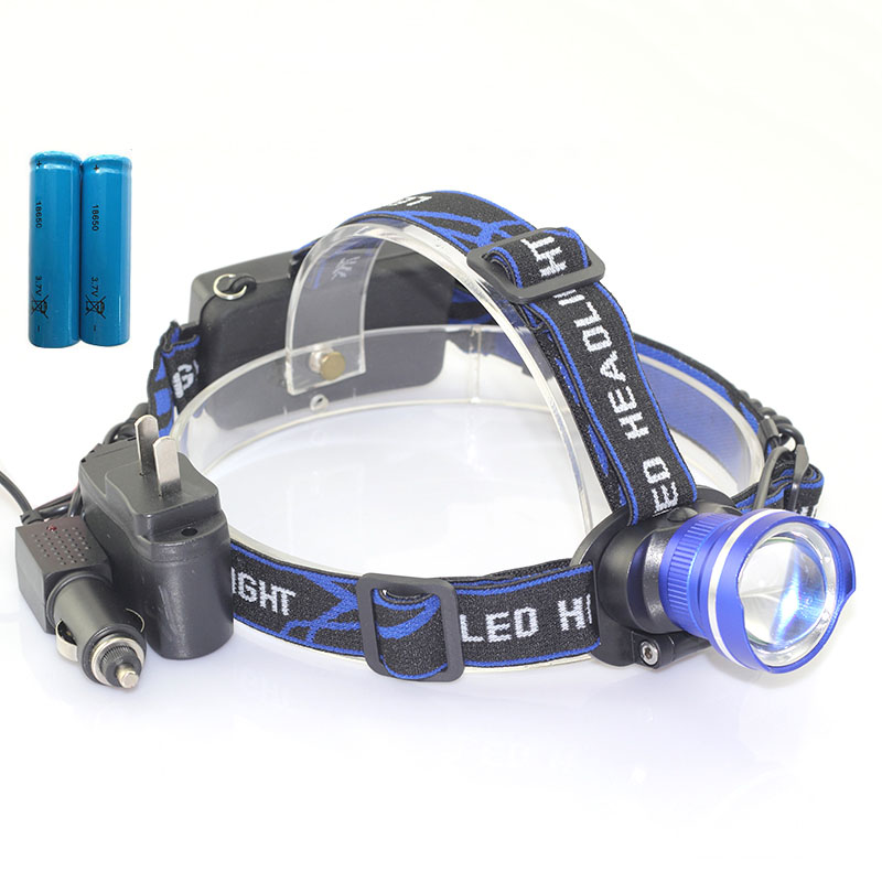 T6 headlamp flashlight Zoomable Adjust Focus frontale led head torch lamp headlight +18650 battery AC Charger car charger 5 t6 led headlight 30000 lumens 4 mode zoomable led headlamp rechargeable head lamp flashlight 2 18650 battery ac dc charger box