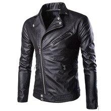 4690de3afa567 Nueva marca de moda de los hombres de PU negro con cremallera de imitación  cuero abrigo Punk manga larga motocicleta chaquetas d.