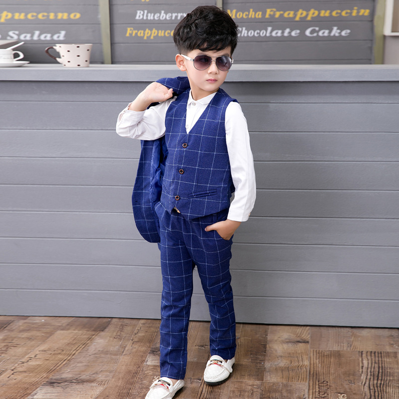 2018 Baby Boys Formal Suits For Weddings England Style Man Child Blue Party Tuxedos Boys Formal Suits Blazer+Pants+Vest 3PCS