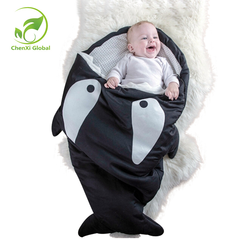 Cartoon Shark  Boy Girls Baby Sleeping Bag Newborn Baby Carriage Winter Warm Bedding Swaddle Infant Blanket Wrap Sleeping Bag