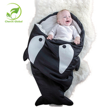 Cartoon Shark Boy Girls Baby Sleeping Bag Newborn Baby Carriage Winter Warm Bedding Swaddle Infant Blanket