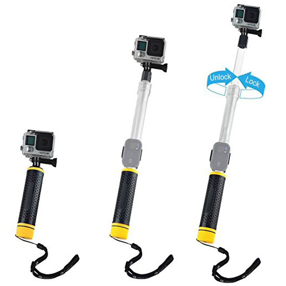 TiYiViRi Waterproof Selfie Sticks Monopod For Gopro Hero 5 6 4 3 Camera for Go Pro Transparent Selfie Stick with Mini Tripod (7)