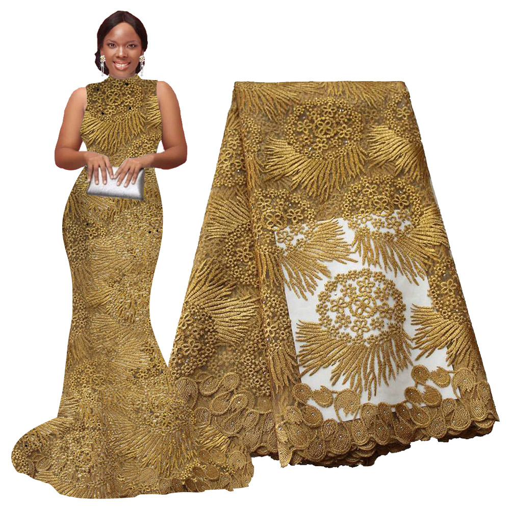 African Lace Fabric 5 Yards High Quality Guipure Lace Tulle French Embroidered Mesh Lace Fabric Gold White Blue Wedding Party