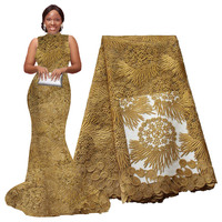 African Lace Fabric 5 yards High Quality Guipure Lace Tulle French Embroidered Mesh Lace Fabric gold Color for African Wedding