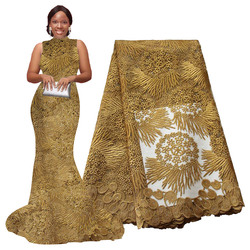 African Lace Fabric 5 yards High Quality Guipure Lace Tulle French Embroidered Mesh Lace Fabric Gold White for African Wedding