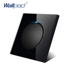 Wallpad L6 Hitam Marah Kaca Panel LED 1 Gang 1 Cara 2 Way Acak Klik Tombol Push Dinding Lampu dengan Indikator LED(China)