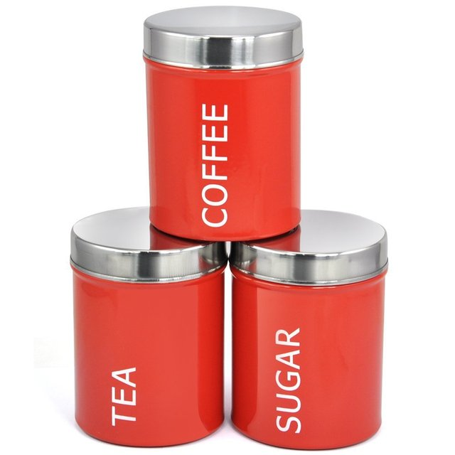 3pcs 1set Red Stainless Steel Food Container Set Canister Coffee Tea Sugar Can