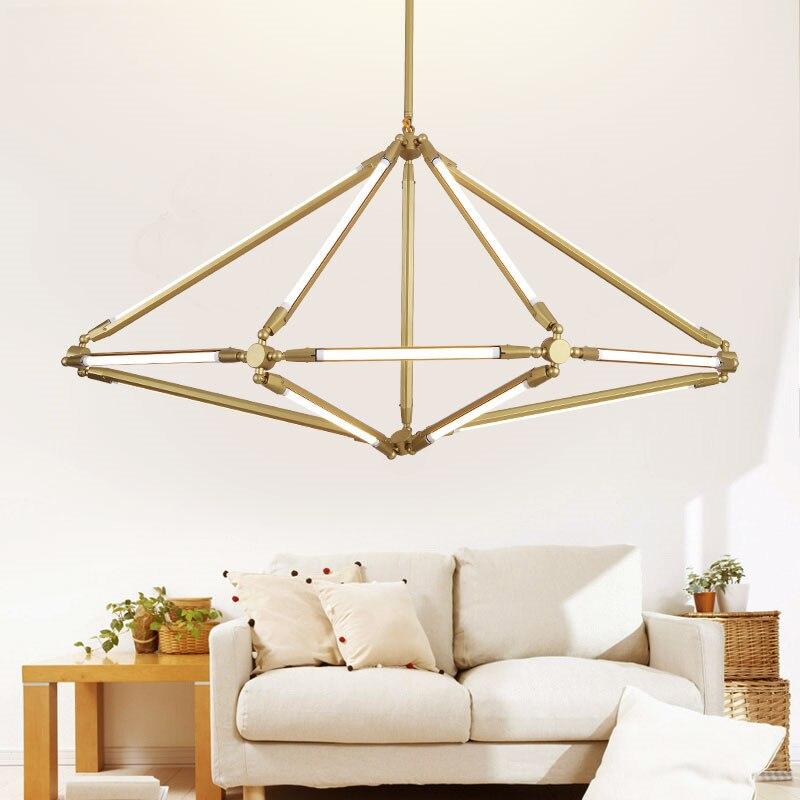 Modern Gold Metal Pendant Lights Retro LED Suspension Lamp Nordic Handing Restaurant Bar Cafe Living Room Home Lighting H028
