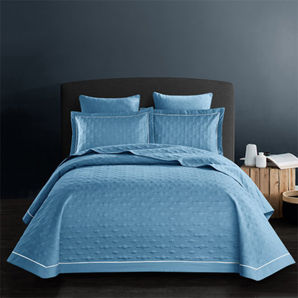 Modern Luxury Adults Bed Cover Winter Warm Comfortable Bedspreads Solid Pure Cotton Blue Quilted Bedspread & Coverlet SetsModern Luxury Adults Bed Cover Winter Warm Comfortable Bedspreads Solid Pure Cotton Blue Quilted Bedspread & Coverlet Sets