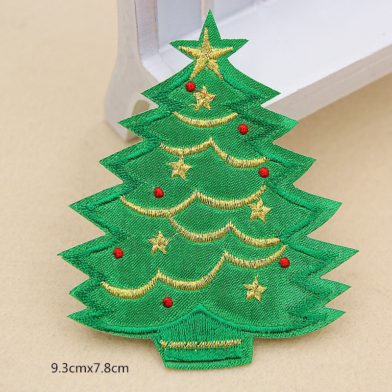10pcs Christmas Tree With Star Red Ball Embroidered Patch Merry