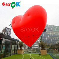 Inflatable Red Heart Balloon 3m/5m Inflatable PVC Balloon for Weddings Events Party Promotions