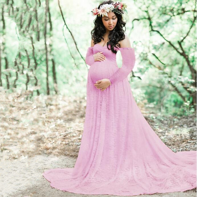 Maternidade rendas + algodão vestido fotografia adereços manga longa moda feminina vestidos estilo trailing vestido de chuveiro do bebê mais tamanho
