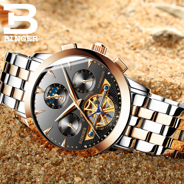 2017 Switzerland luxury men's watch BINGER brand Mechanical Wristwatches Wristwatches sapphire full stainless steel B1188-6