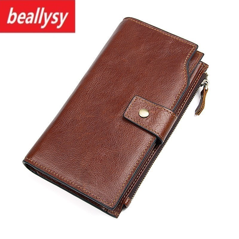 Fashion Men Wallets Genuine Leather Long Clutch Purse Luxury Brand Money Bag Coin Purse Zipper & Hasp Men Walet Portomonee Rfid