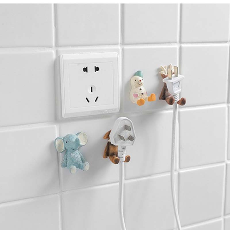 Cartoon Animal Self Adhesive Hook Coat Hanger Key Hook Hanger Power Plug Socket Holder Decor Hanging Organizer Storage Racks