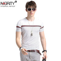 NIGRITY Men's Short Sleeve O Neck Casual   T     Shirts   Summer Print silk-Cotton Slim Fit Men Tees Tops large size S-5XL Male   T     shirt