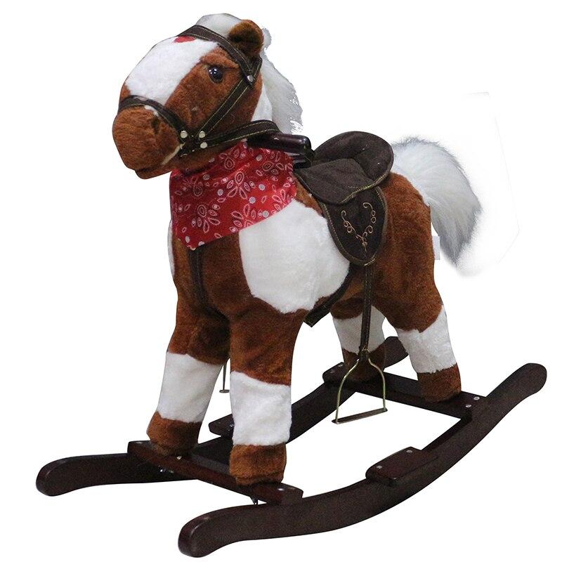 Petit cheval à bascule en bois jouet avec écharpe musique Animal équitation cheval mécanique peut sonoriser chanter pour les enfants de 3-8 ans