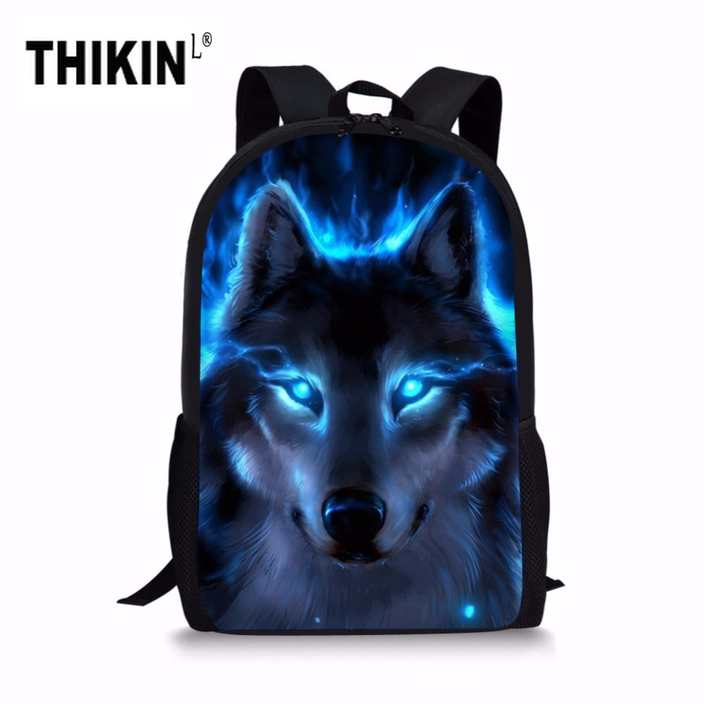 THIKIN Light Of The Wolf Printing Schoolbags For Children Cool Animal Teenager Girls School Bag Student Kids Bookbags Mochila