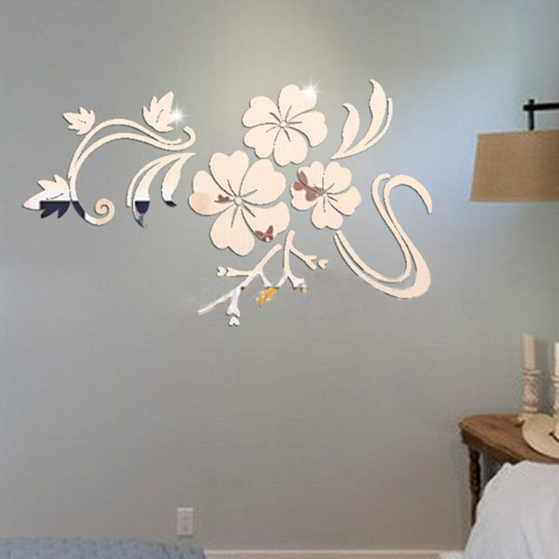 New Fashion Wall Stickers Gold Silver Acrylic 3D Mirror Flower Home Decor Vinyl Stickers For Children kids bedroom VBD56 P0.3
