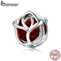 BAMOER Romantic 100 925 Sterling Silver Rose Flower Red Crystal Charm Beads Fit Women Charm Bracelet