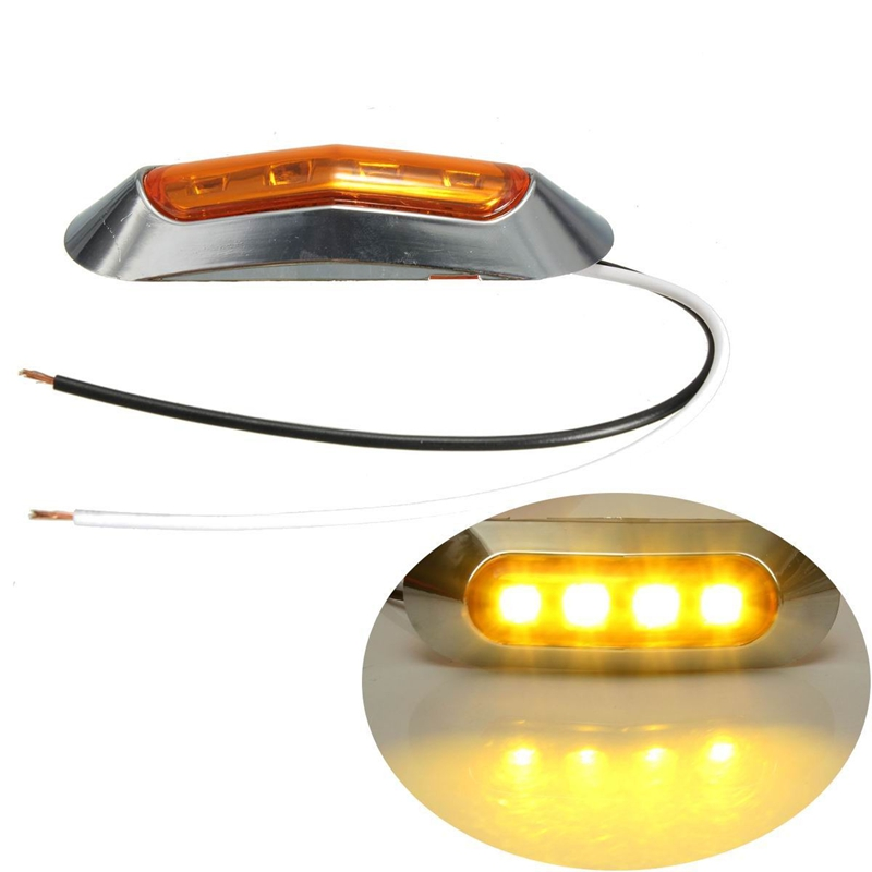 12V 24V Yellow Red White LED Side Clearance Marker Light Tail Lamp Chrome Bezel idlamp светильник потолочный 827 8pf whitechrome