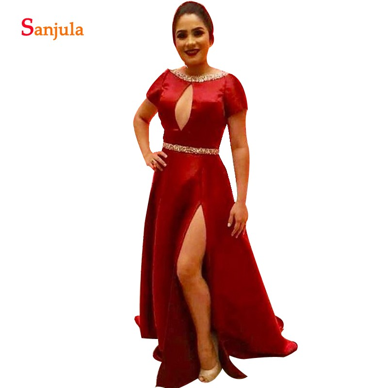 Wine Red Satin Mother Of The Groom Dresses A line Beaded Neckline Short Sleeve Women Party Dress For Wedding Side Slit Wear MY04 in Mother of the Bride Dresses from Weddings Events