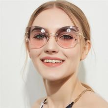 GIFANSEE fashion brand design women Rimless sunglasses Cat e