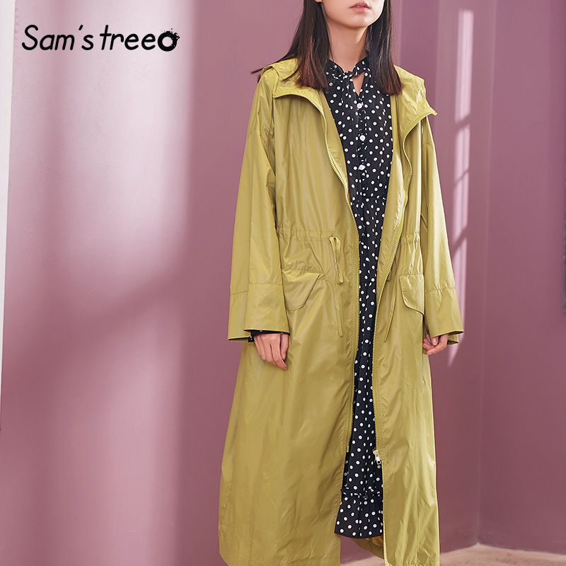 Samstree Casual Spring Summer Women Long Trench Coat Straight Waist Drawstring Female Hoodied Outwear Plus Size