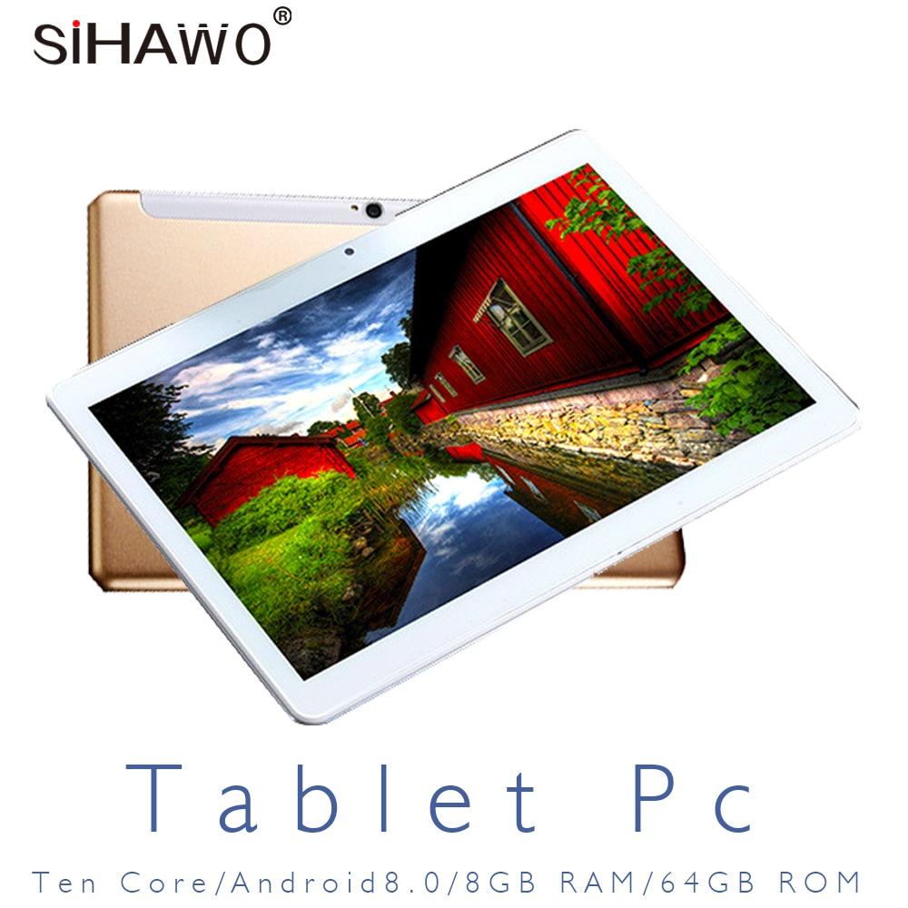 10.1Inch 10 Core 2560x1600 Display 8GB RAM 64GB ROM Android 8.0 Tablet PC Dual SIM 4G Phone Call OTG WiFi Bluetooth GPS Tablets
