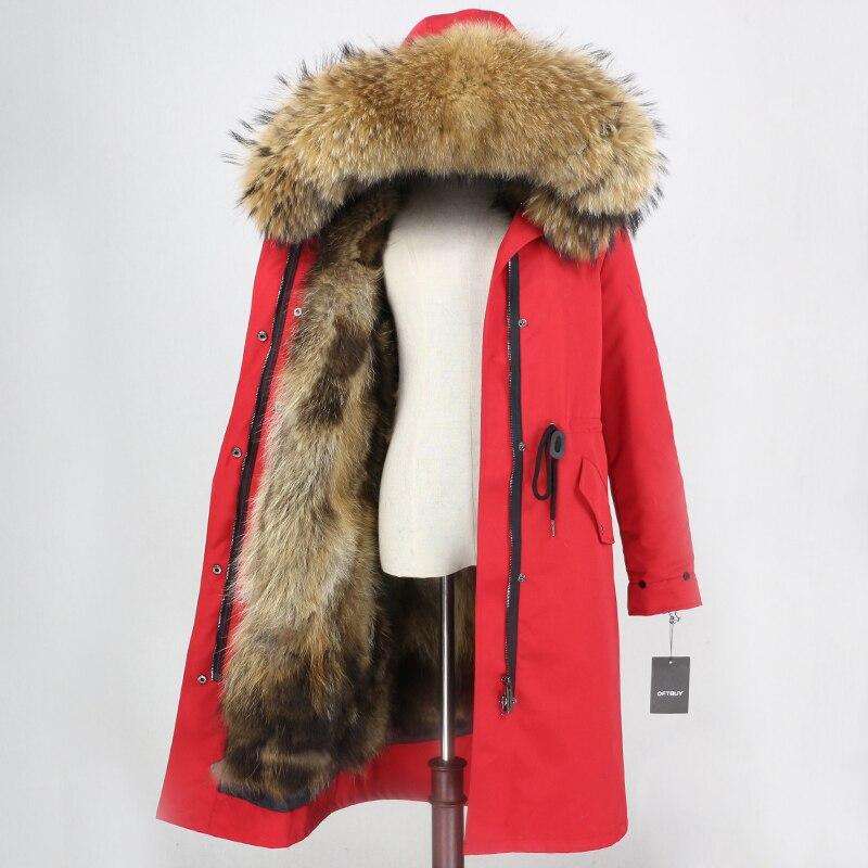 OFTBUY X   long Parka เสื้อกันหนาวกันน้ำเสื้อแจ็คเก็ตสตรีฤดูหนาว Raccoon ขนสัตว์ Hood Fox Fur Liner ขนสัตว์จริงที่ถอดออกได้-ใน ขนสัตว์จริง จาก เสื้อผ้าสตรี บน   3