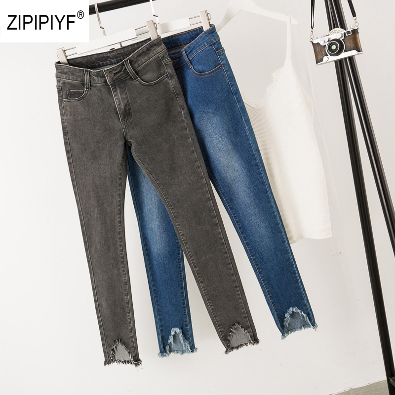Clothing Pencil Jeans Washed Denim Trousers Slim thin Jeans Ripped Hem Pants NEW Simple Style Jeans