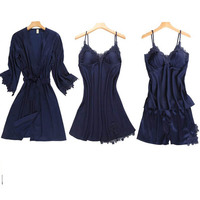 2019 Women's summer ice silk pajamas suspender shorts with chest pad sexy hanging dress robe four piece home service suit