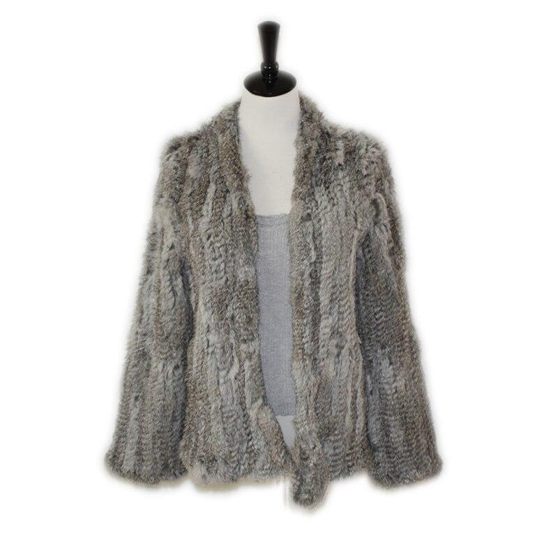 Harppihop Real Rabbit Fur Coat Women Natural Real Rabbit Fur Jacket Waistcoat/jackets Rabbit Knitted Winter Warm Coat Harppihop