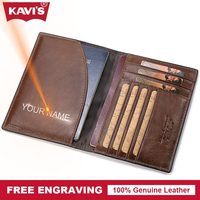KAVIS Vintage Genuine Cow Leather Passport Small ID Card Holder Cover Business Travel Credit Men Wallet