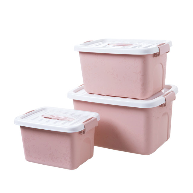 Online Shop Covered plastic clothes storage box three piece
