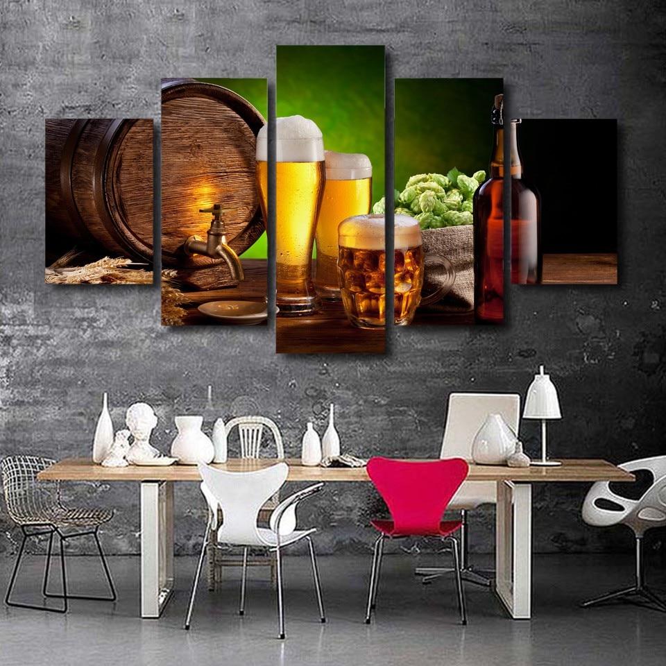 Home Decor Image: HD Canvas Prints 5 Pieces Beer Barrel Hop Malt Kitchen