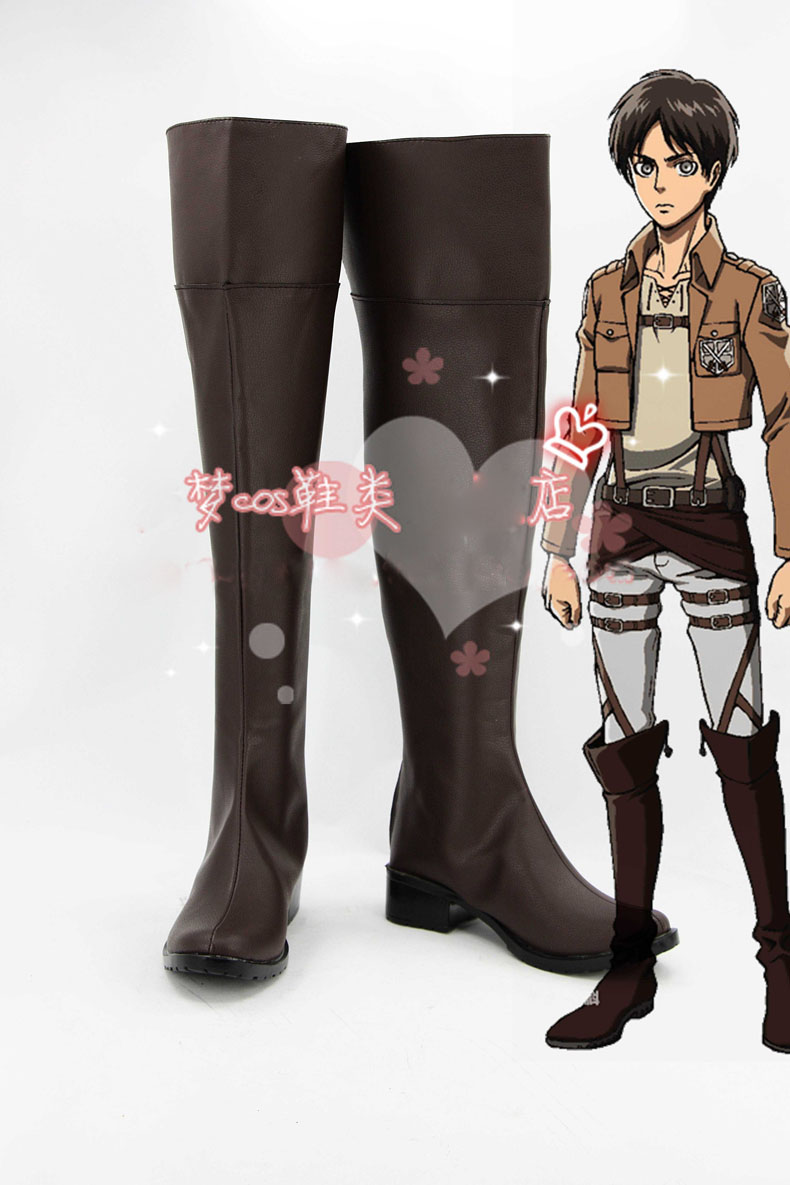 Anime Attack on Titan Eren Jaeger Boots Cosplay costume shoes Custom Made Halloween Free Shipping