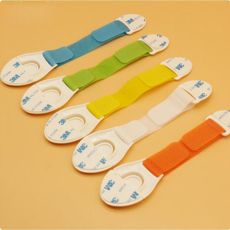 New 3pcs Baby Safety Lock Child Protection Wardrobe Cabinet Drawer Refrigerator Toilet Ribbon Fabric Locks Straps Plastic Latch