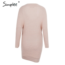 Simplee Sexy V neck cross knitting sweater dress Women elegant long sleeve pullover female winter dress Autumn casual jumper