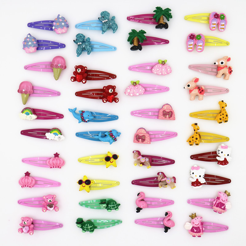 Cute Cartoon Animals Hair Clip Girls Hair Accessories Headband Flower Crown Hairpin Droplet Boutique Hairpins for Girl 10pcs 8 pieces children hair clip headwear cartoon headband korea girl iron head band women child hairpin elastic accessories haar pin