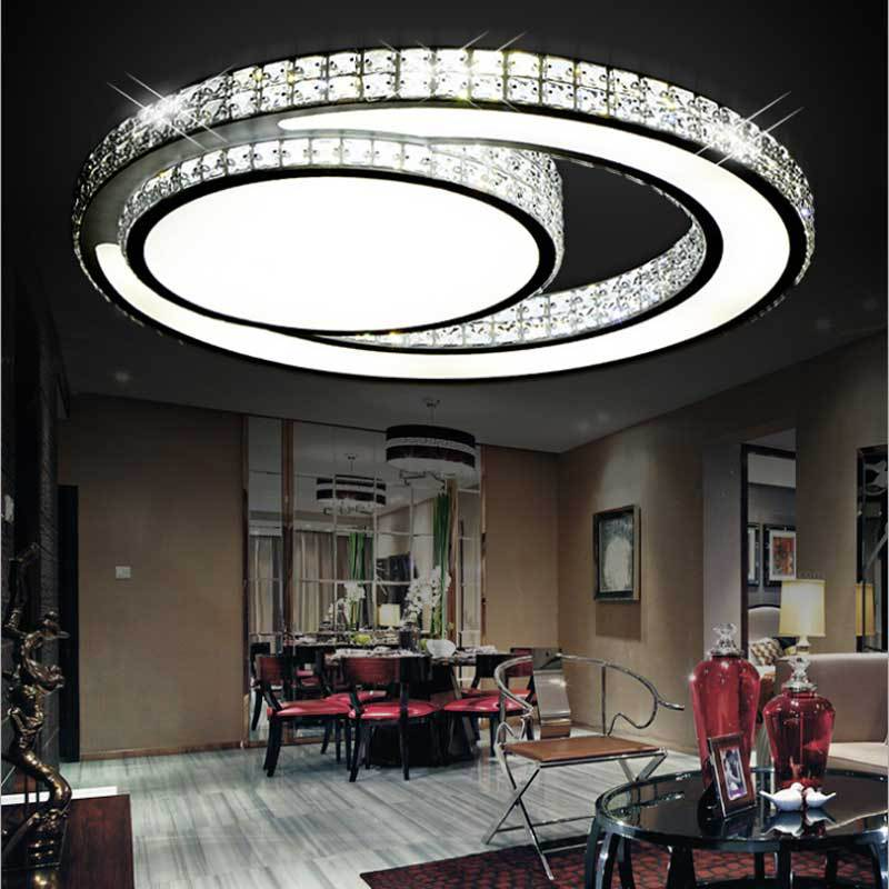 Crystal Ceiling Lights Round Modern Ceiling Lamps Circle Circular led Circolare Plafondlamp D32, D45, D60cm Luz de teto circular ceiling wooden lighting lamps