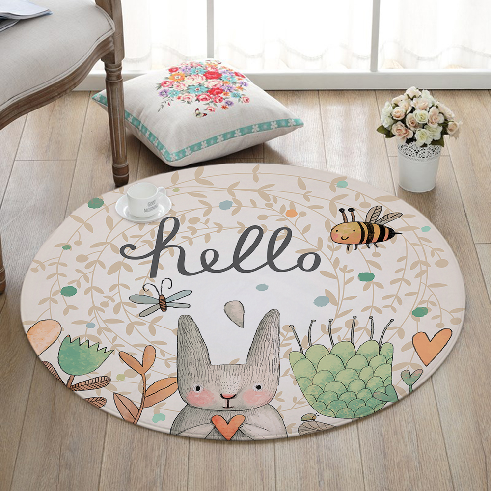 decorative play mat.htm miracille cartoon rabbit printed round carpet for living room  miracille cartoon rabbit printed round