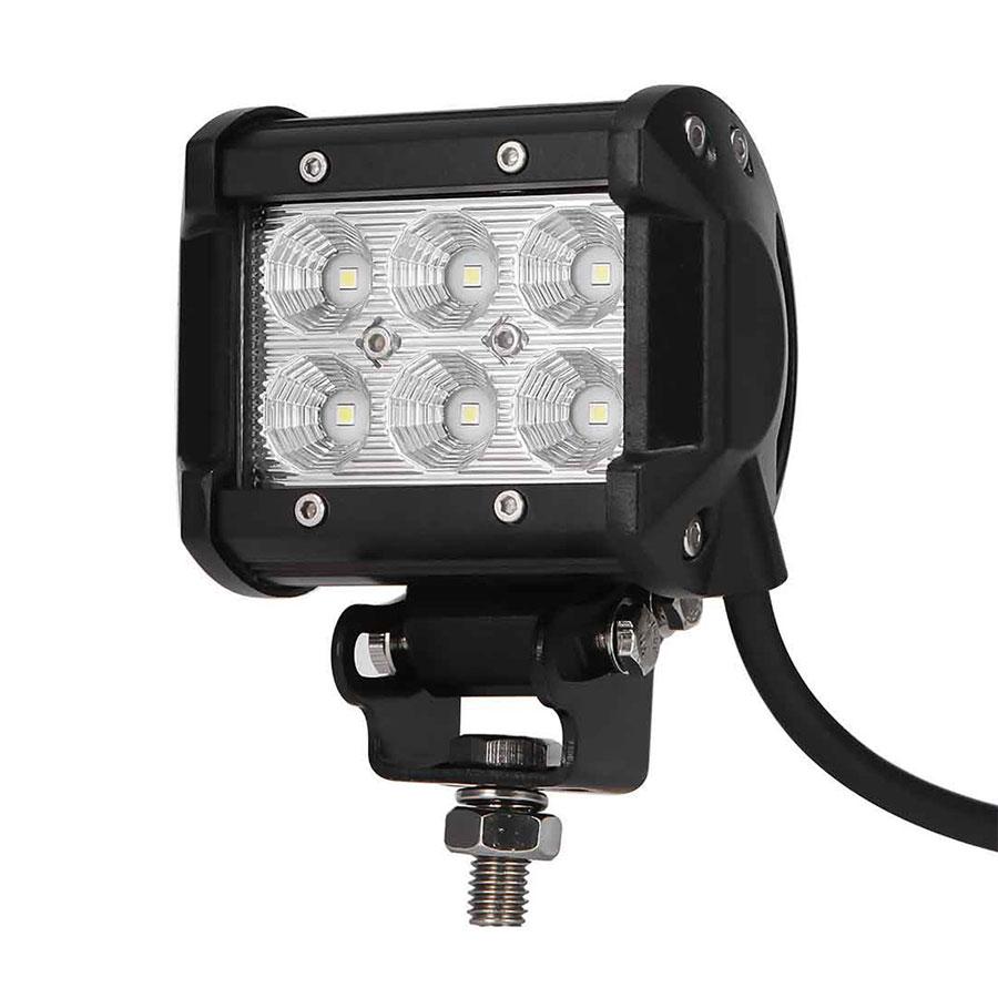 1Pc Adjustable Car LED Work Light Offroad Lights 18W 6500K Led Chips Flood&Spot Driving Bar Lamp Sportlight for 12v Car SUV ATV