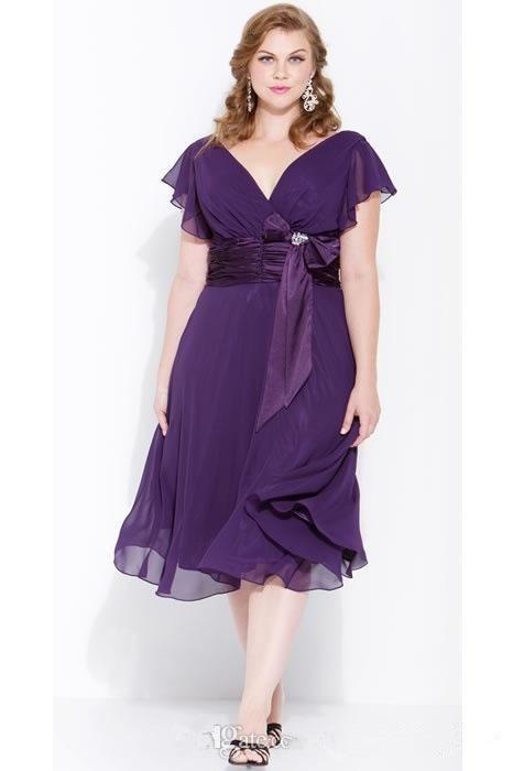 Plus Size 2016 Short Mother Of The Bride Dresses Purple