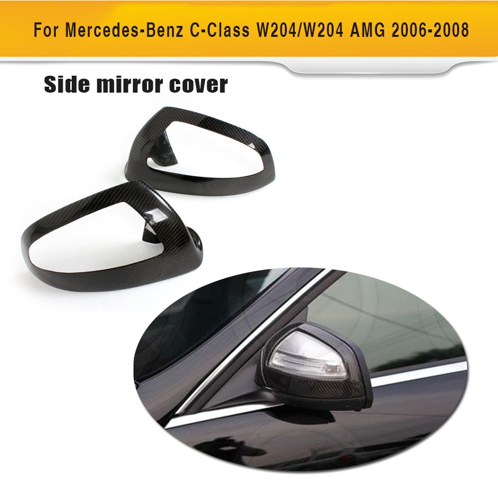 Carbon Fiber Car Mirror Covers Caps For  Mercedes Benz C Class W204 C230 C280 C300 C350 C63 AMG 2007 - 2009 50% off 4pcs set 2007 2012 w204 c class rear fender flares wheel arch for mercedes benz fits 07 12 c63 amg with free gift