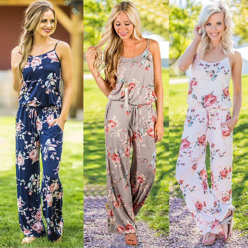 New   Jumpsuits   for women 2019 Casual Straight   Jumpsuit   Sleeveless Spaghetti Strap Printed   Jumpsuit   waist lace up Women Clothing