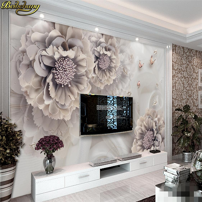 Beibehang Custom Photo Wallpaper Stereo Surfaces Mural,Atmosphere Peony Stereo Jewelry Flower TV 3D Wall Background Wall